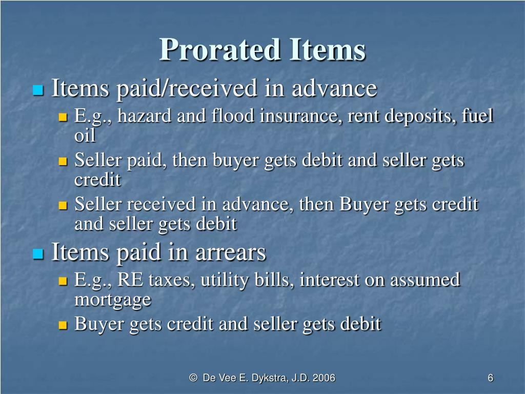 Prorated Items