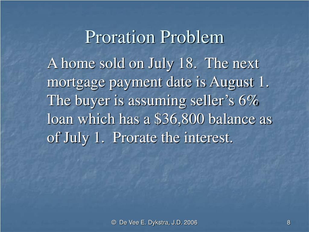 Proration Problem
