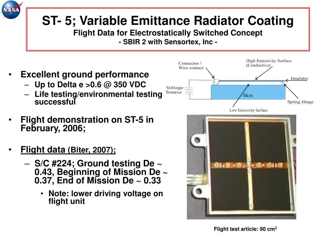 ST- 5; Variable Emittance Radiator Coating