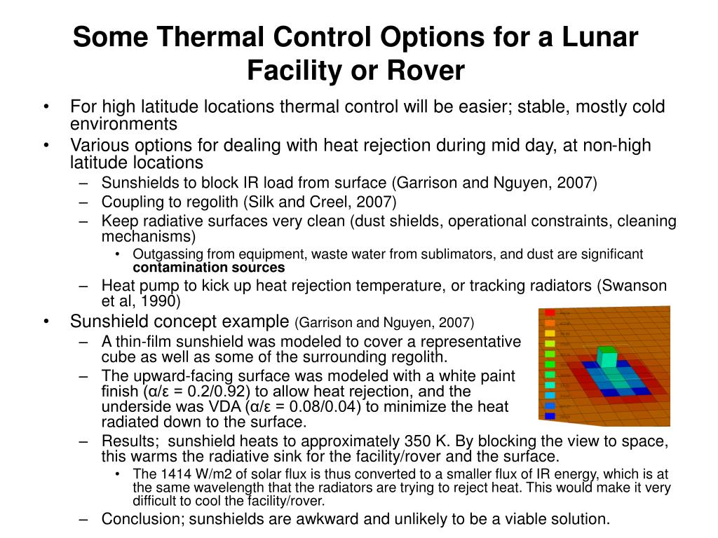 Some Thermal Control Options for a Lunar Facility or Rover