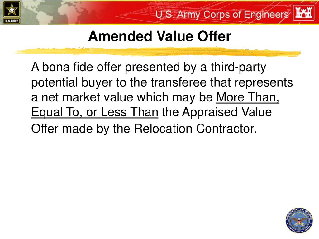 Amended Value Offer