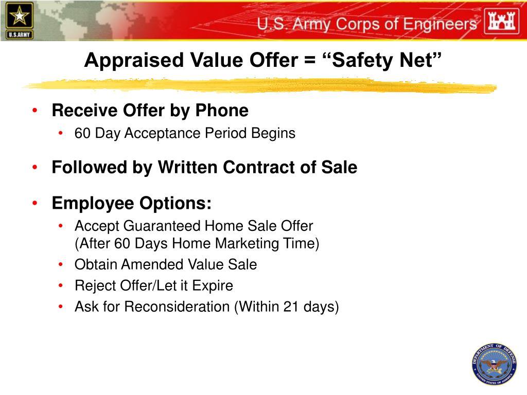 "Appraised Value Offer = ""Safety Net"""