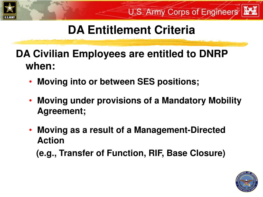 DA Entitlement Criteria