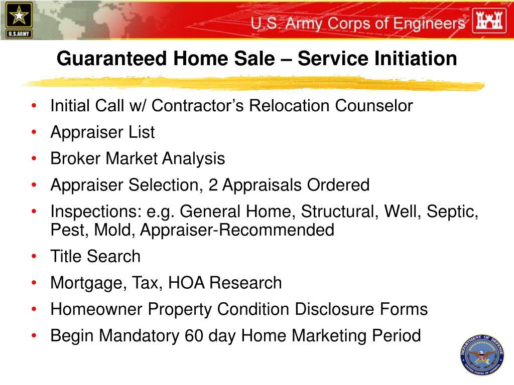 Guaranteed Home Sale – Service Initiation