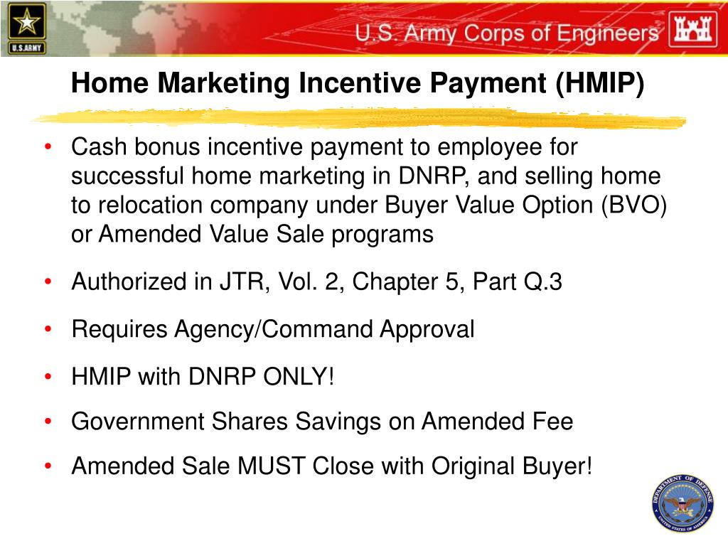 Home Marketing Incentive Payment (HMIP)