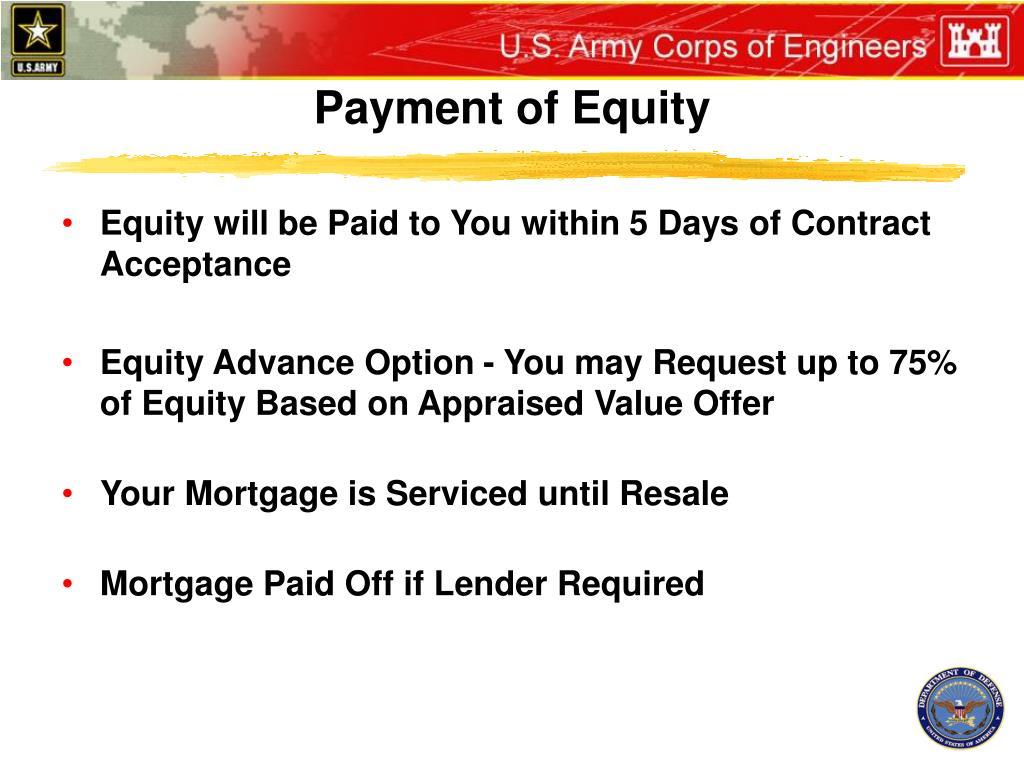 Payment of Equity