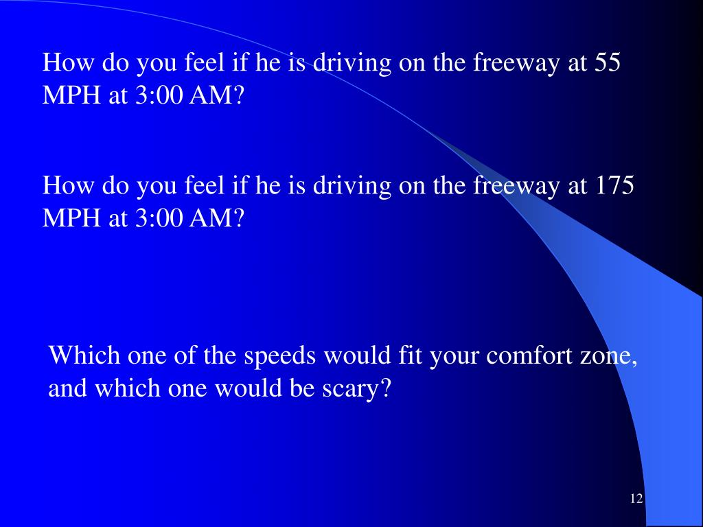 How do you feel if he is driving on the freeway at 55 MPH at 3:00 AM?