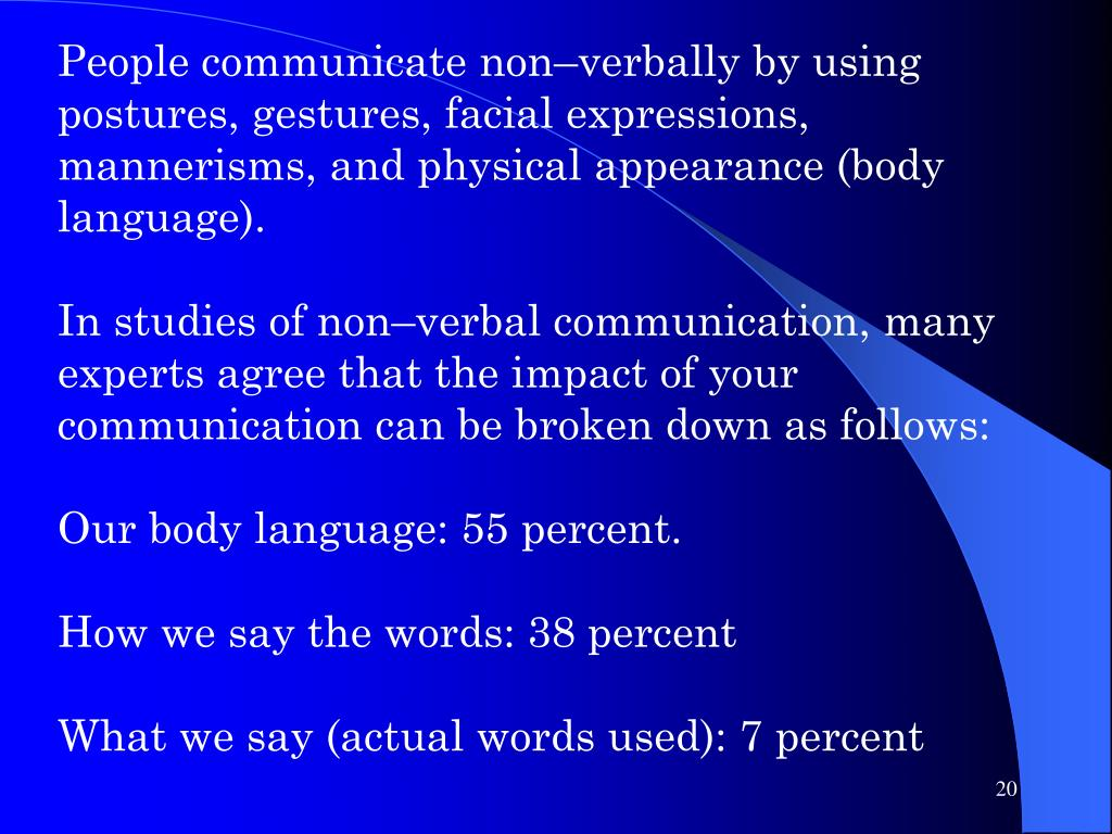 People communicate non–verbally by using postures, gestures, facial expressions, mannerisms, and physical appearance (body language).