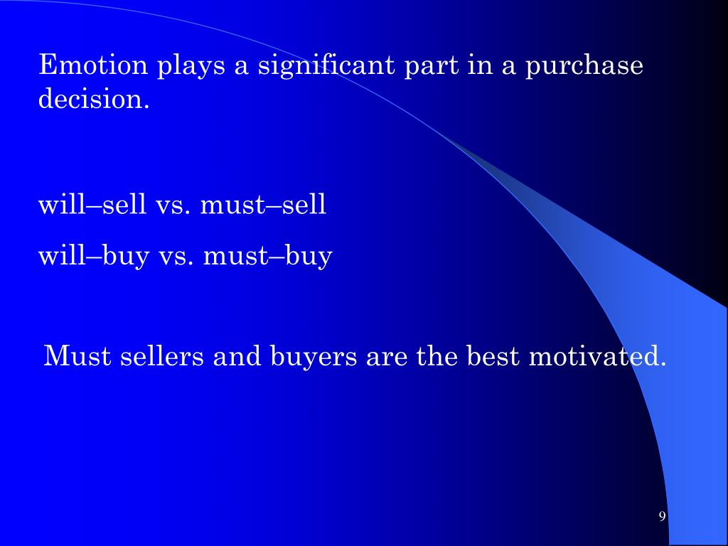Emotion plays a significant part in a purchase decision.