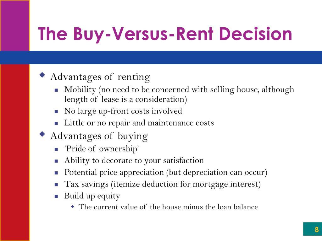 The Buy-Versus-Rent Decision