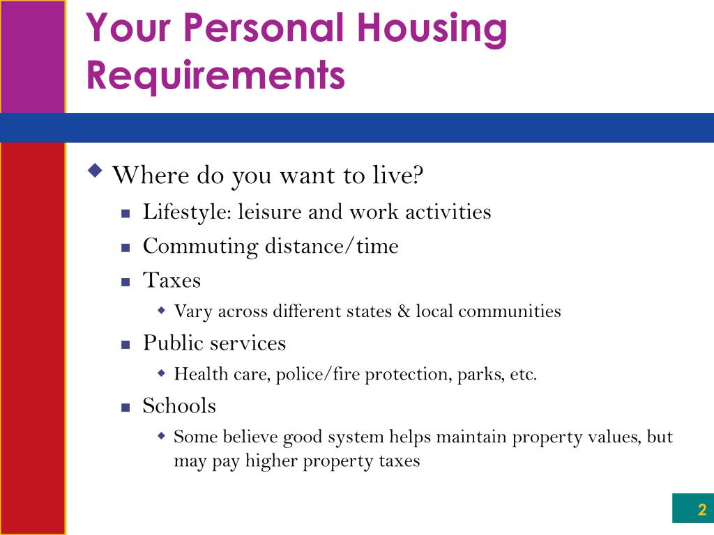 Your Personal Housing Requirements