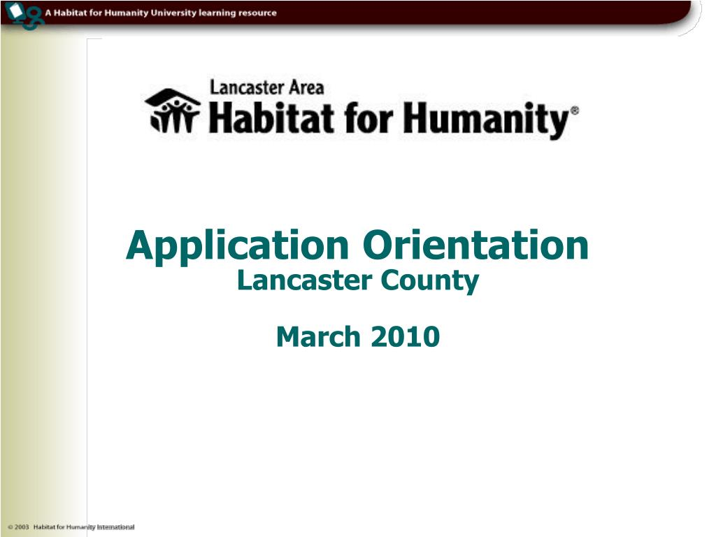 Application Orientation