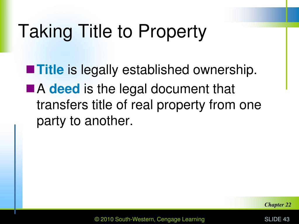 Taking Title to Property