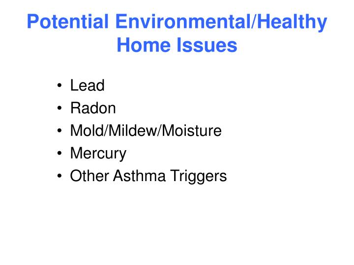 Potential environmental healthy home issues