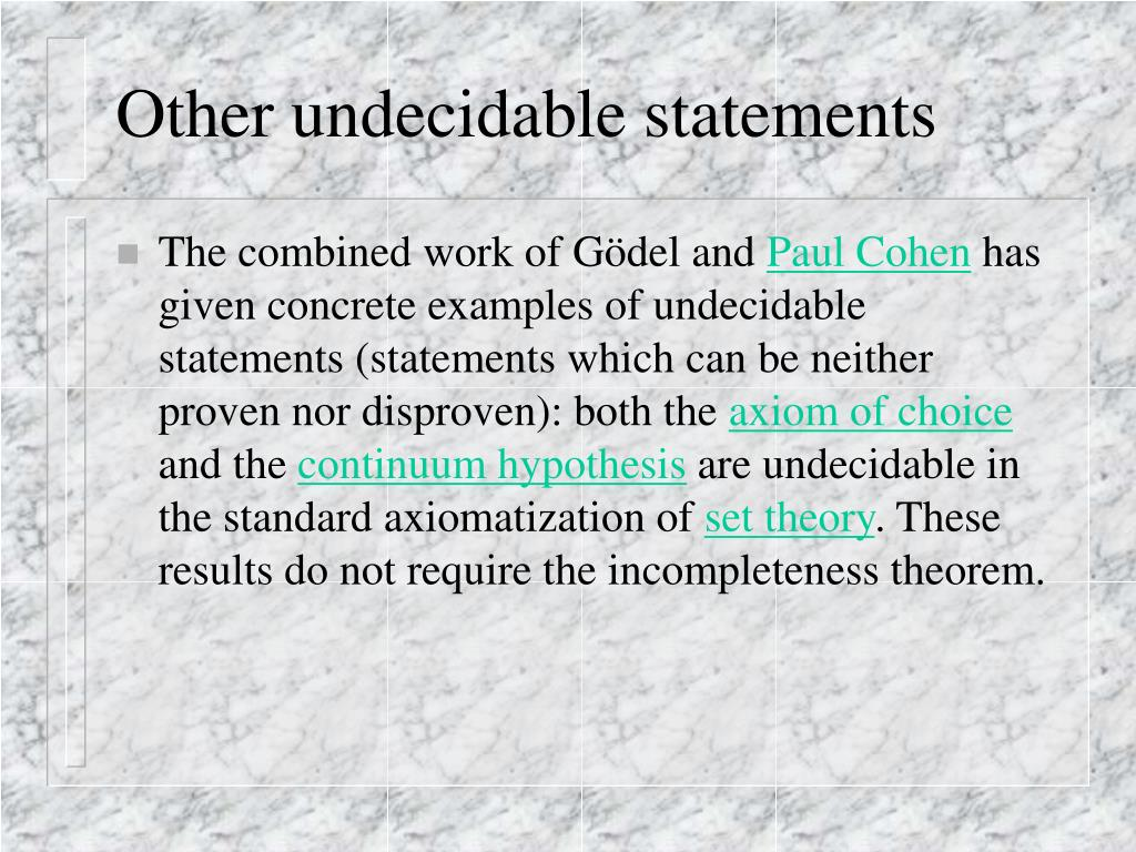 Other undecidable statements
