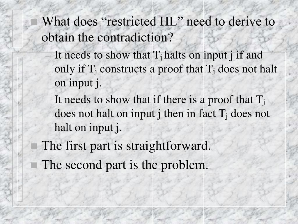 "What does ""restricted HL"" need to derive to obtain the contradiction?"