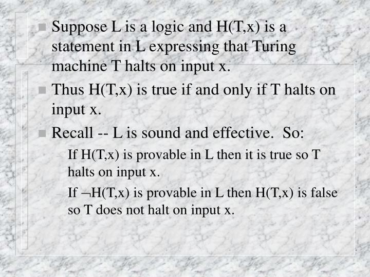 Suppose L is a logic and H(T,x) is a statement in L expressing that Turing machine T halts on input ...