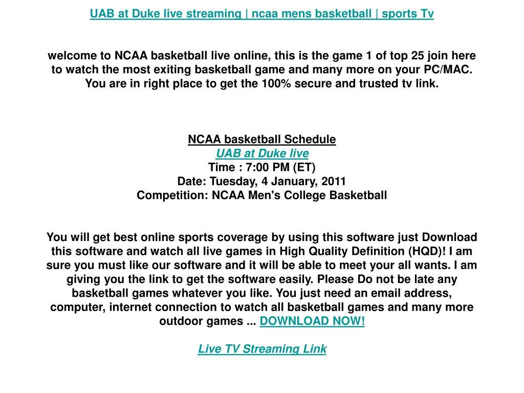 UAB at Duke live streaming | ncaa mens basketball | sports Tv