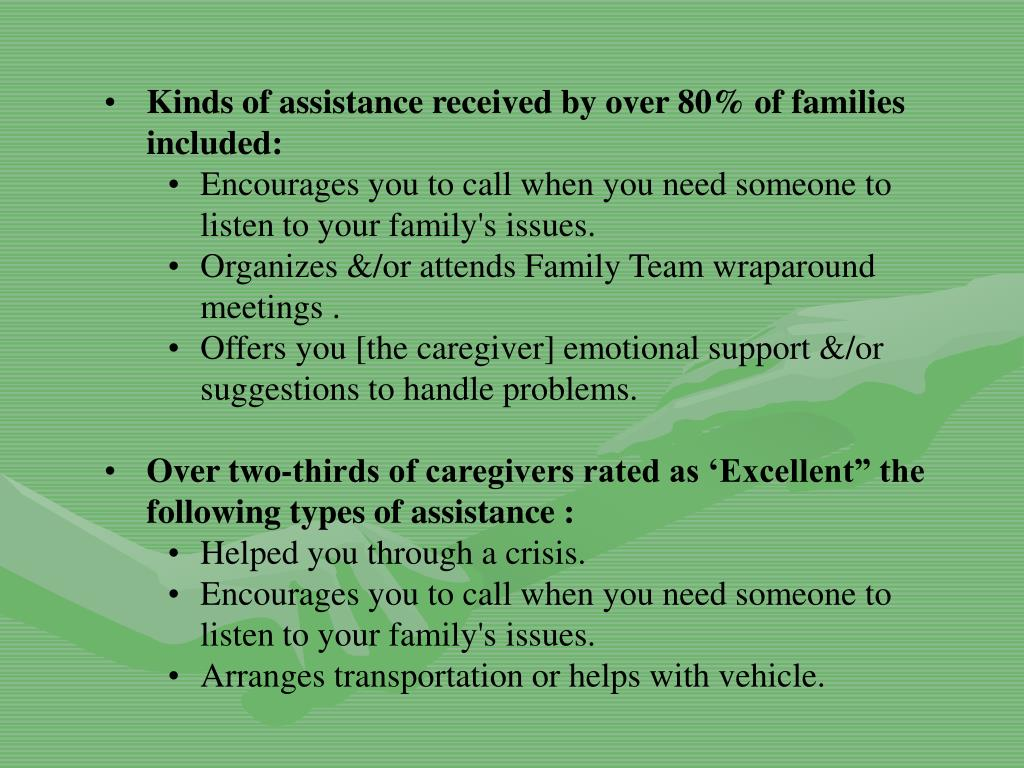 Kinds of assistance received by over 80% of families included: