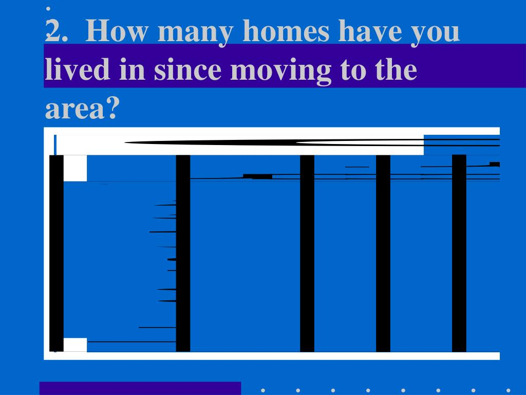 2.  How many homes have you lived in since moving to the area?