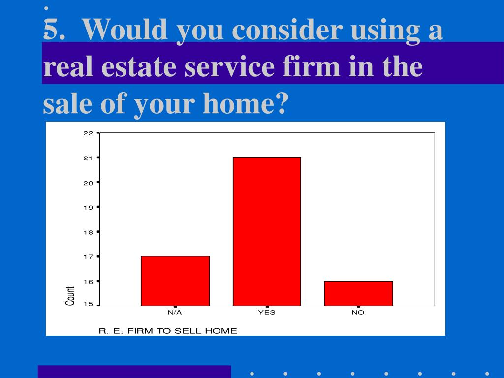 5.  Would you consider using a real estate service firm in the sale of your home?