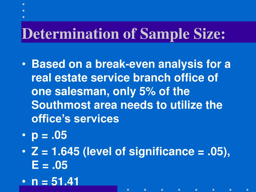 Determination of Sample Size: