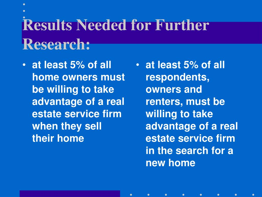 at least 5% of all home owners must be willing to take advantage of a real estate service firm when they sell their home