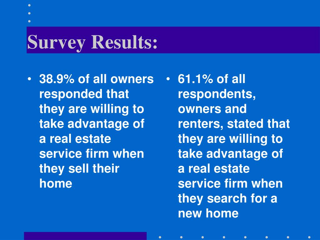 38.9% of all owners responded that they are willing to take advantage of a real estate service firm when they sell their home