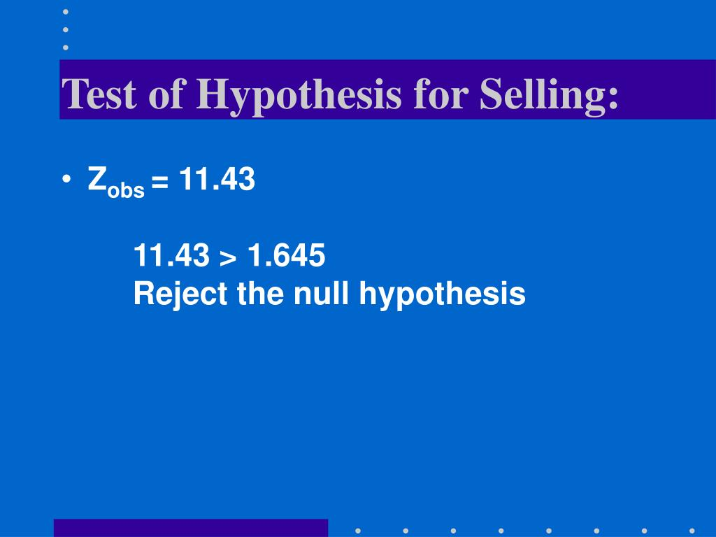 Test of Hypothesis for Selling:
