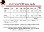 des instrument project costs