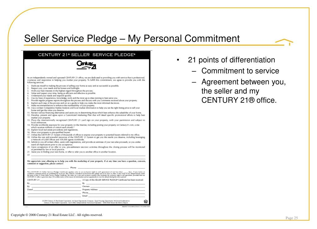 Seller Service Pledge – My Personal Commitment