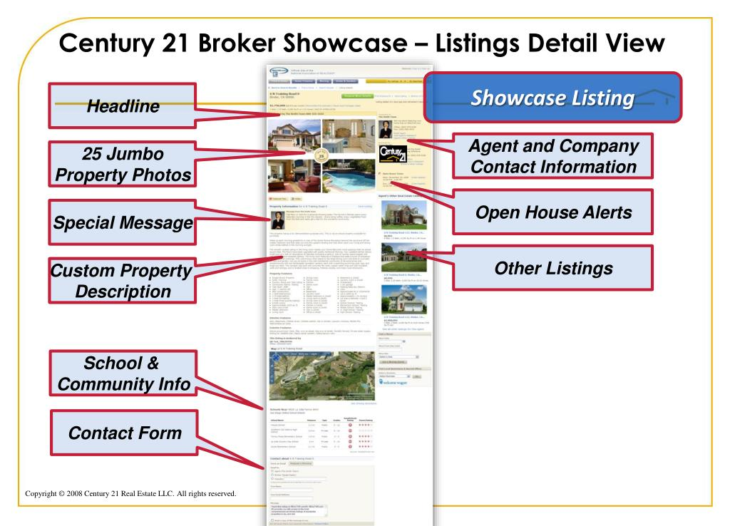 Century 21 Broker Showcase – Listings Detail View