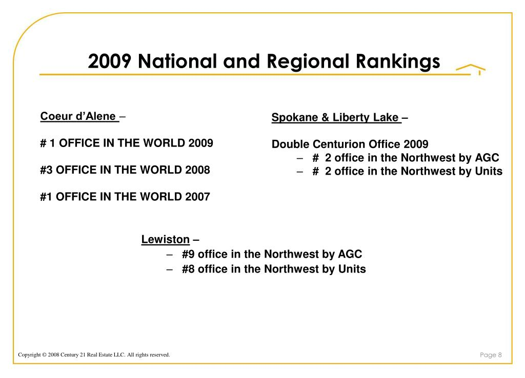 2009 National and Regional Rankings