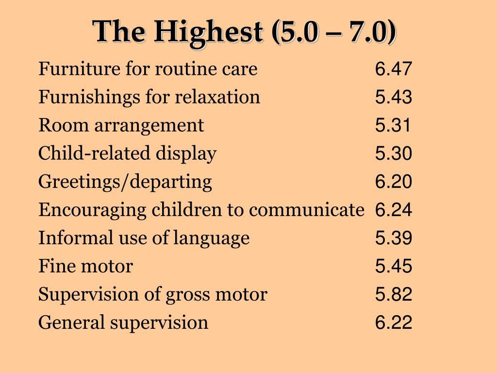 The Highest (5.0 – 7.0)