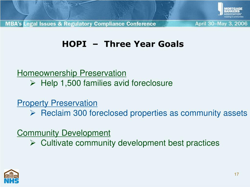HOPI  –  Three Year Goals