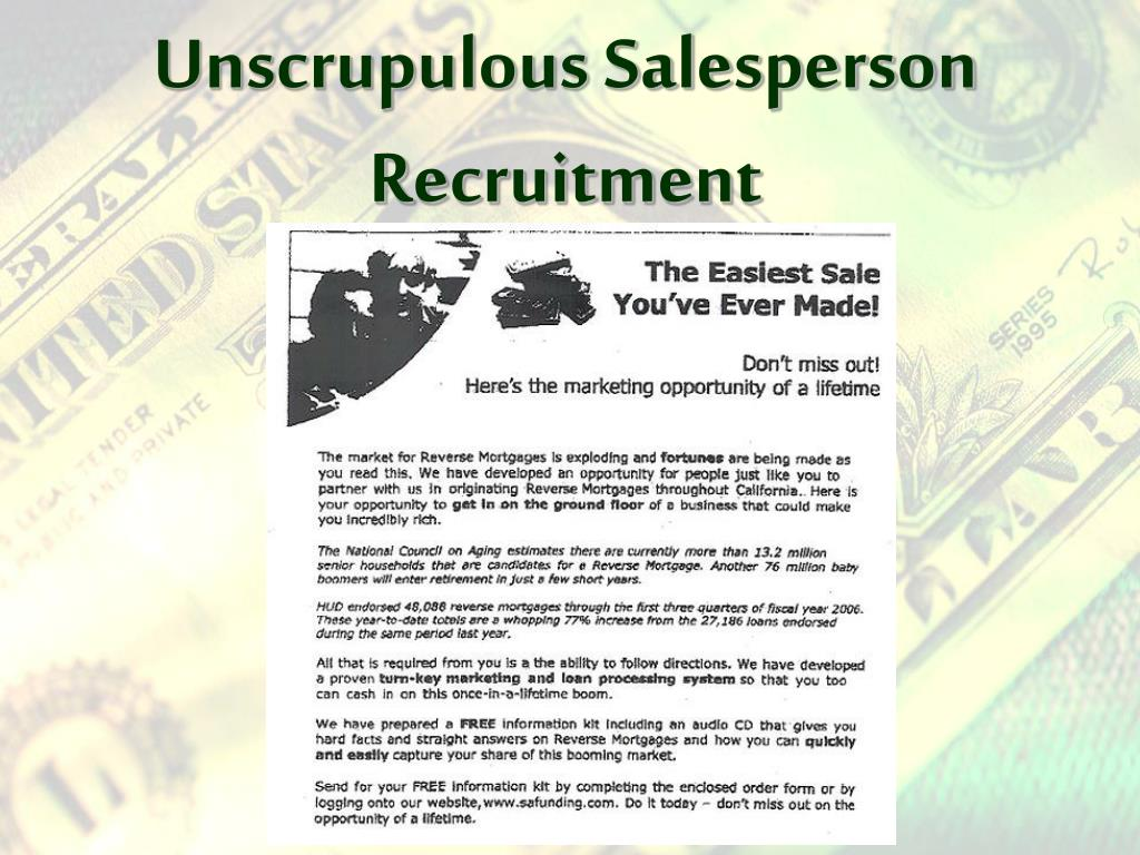 Unscrupulous Salesperson Recruitment