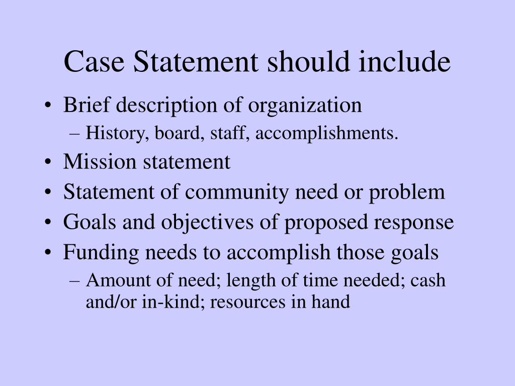 Case Statement should include