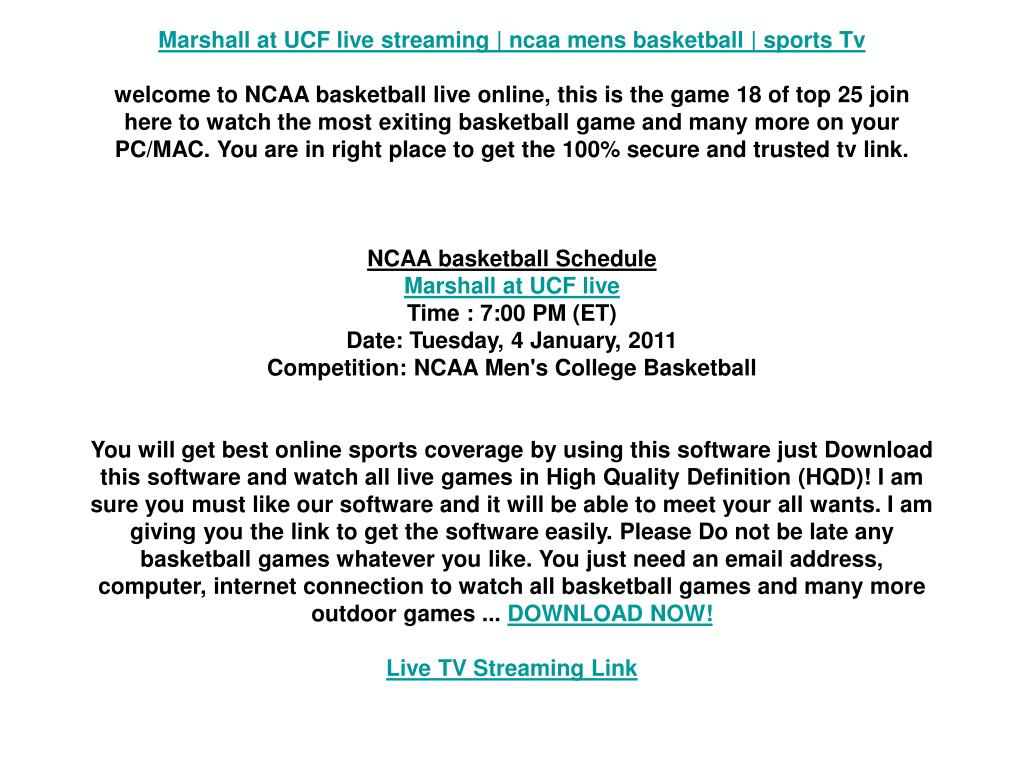 Marshall at UCF live streaming | ncaa mens basketball | sports Tv