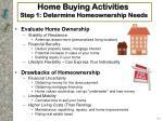 home buying activities step 1 determine homeownership needs