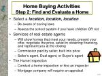 home buying activities step 2 find and evaluate a home