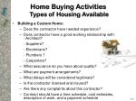 home buying activities types of housing available10