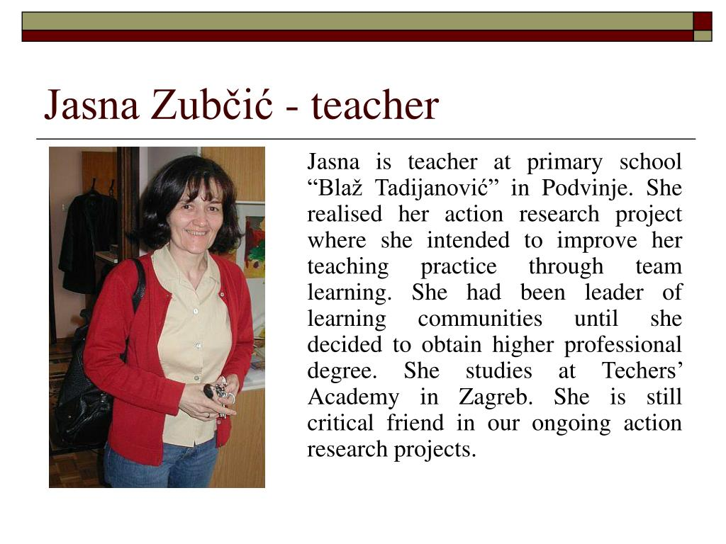 Jasna Zubčić - teacher