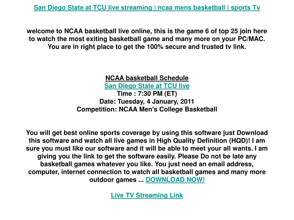 San Diego State at TCU live streaming | ncaa mens basketball | sports Tv