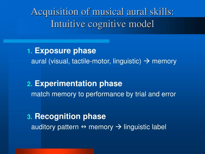 Acquisition of musical aural skills intuitive cognitive model