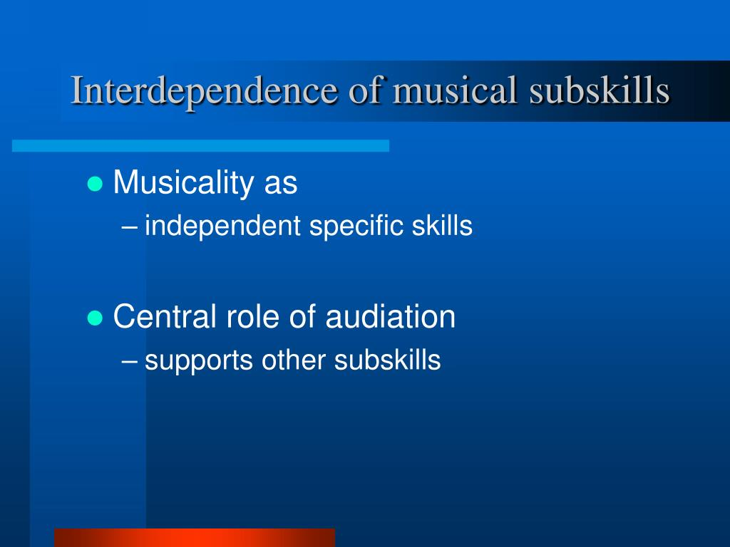 Interdependence of musical subskills