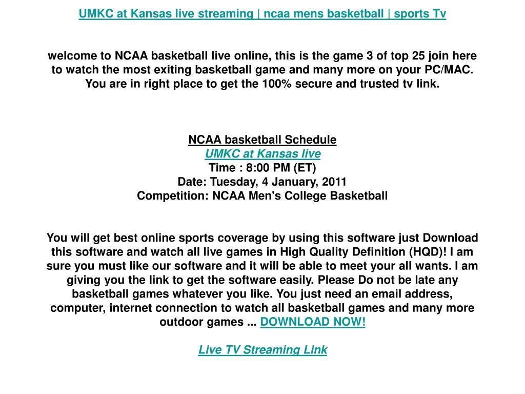 UMKC at Kansas live streaming | ncaa mens basketball | sports Tv