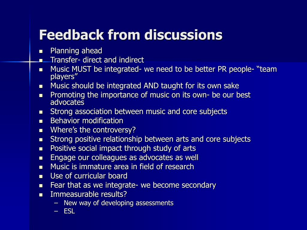 Feedback from discussions