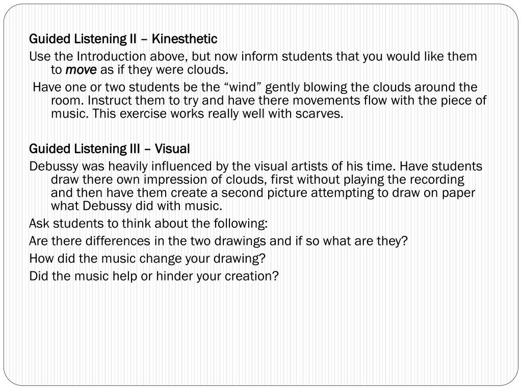 Guided Listening II – Kinesthetic
