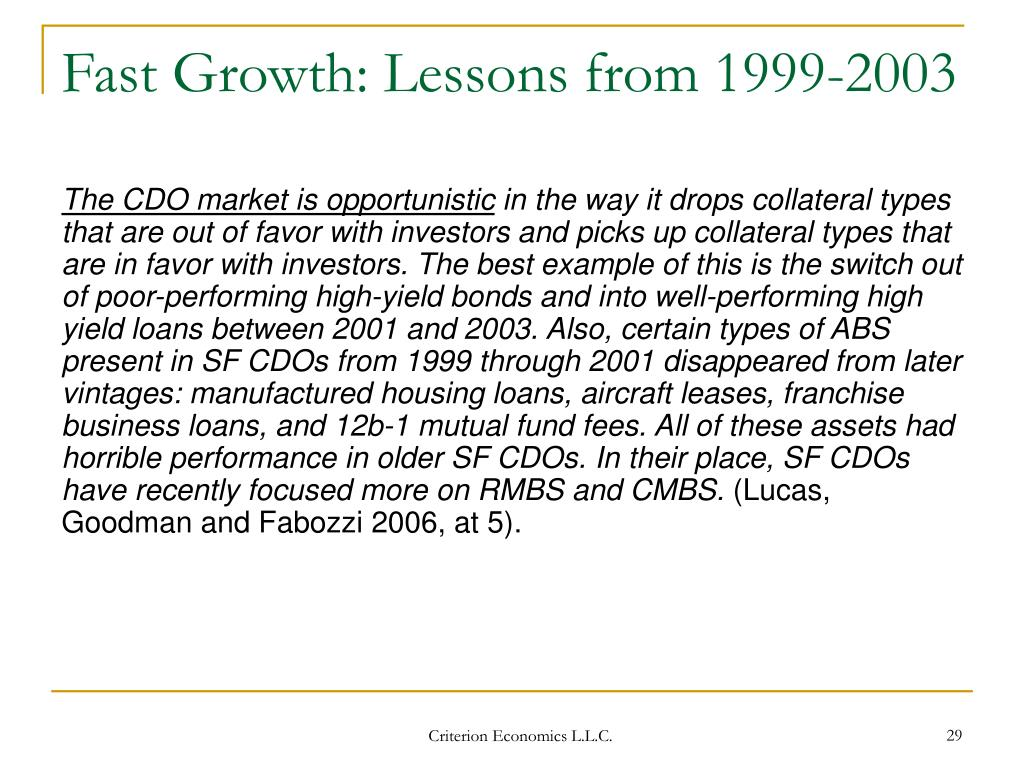 Fast Growth: Lessons from 1999-2003