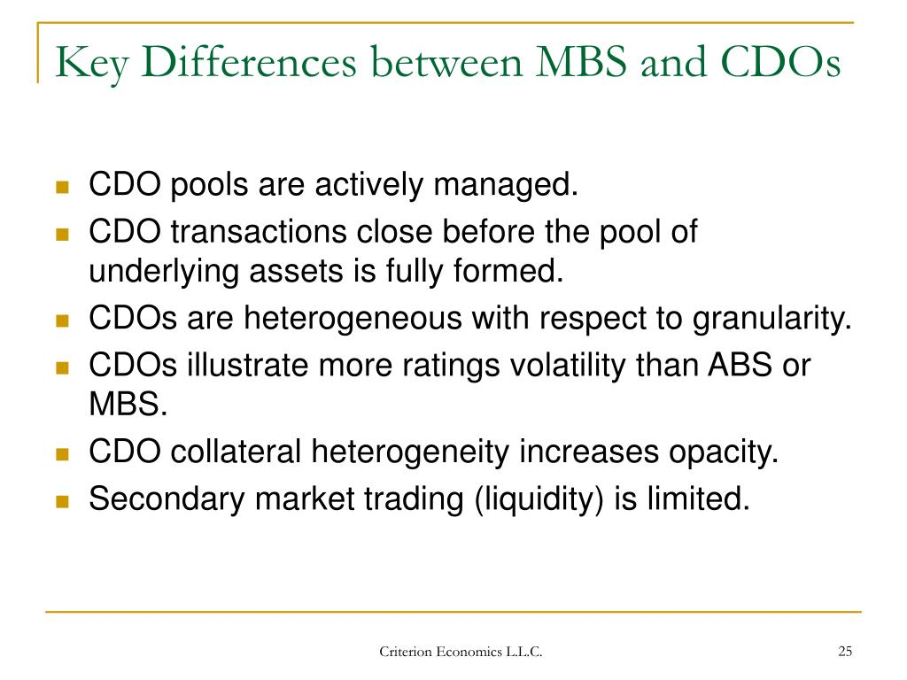 Key Differences between MBS and CDOs